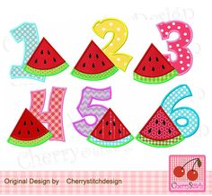 Watermelon Numbers 1-6,Birthday Numbers Digital Embroidery  Applique  -4x4 5x7 6X10-Machine Embroidery Design Applique by CherryStitchDesign on Etsy