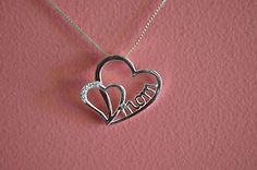 925 Sterling Silver Mother's Day Gift Mom Hearts Pendant - Heart w/ CZ Pendant