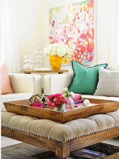 Love color mix: jade green, hot pink, floral oversized painting, linen cream furniture