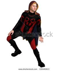 One young man in a super suit and a red cloak. He stands in a dancing pose and his right foot raised. 3D rendering, 3D illustration