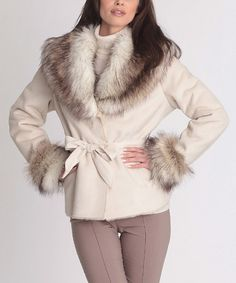 Another great find on #zulily! White Faux Fur Tie-Waist Coat - Plus Too #zulilyfinds