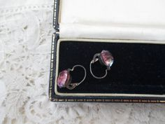 Rainbow glass earrings real silver 1930's by Nkempantiques on Etsy