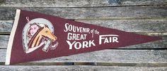 Old Souvenir Felt Pennant GREAT YORK FAIR Horseshoe Horse Horsewoman State Fair York PA