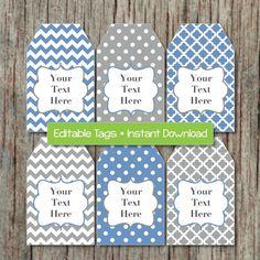Editable Gift Tags Printable Party Labels Blue Grey by BumpAndBeyondDesigns, $2.50