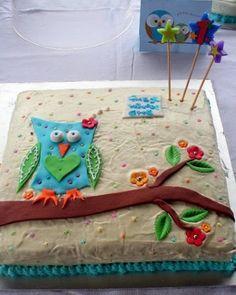cutest little owl sheet cake