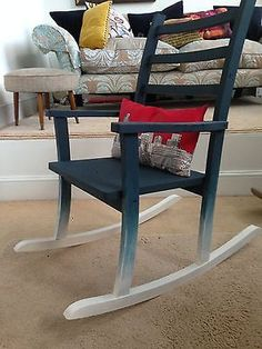 WOODEN-ROCKING-CHAIR-ARM-CHAIR-VINTAGE-shabby-chic-OMBRE Wooden Rocking Chairs, Wood Chairs, New Project Ideas, Chair Redo, Vintage Shabby Chic, Armchairs, Chalk Paint, Stools, Business
