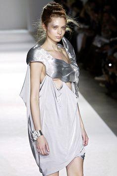 Elegant Futuristic Fashion - silver dress with contoured shape & soft drape; sculptural fashion // Lie Sang Bong