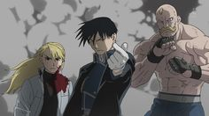 Why yes, we are pretty much always this. cool.Be jealous.  Riza , Roy, And Armstrong! =D