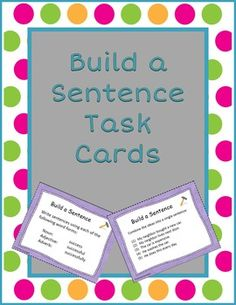 Writing practice for complex sentences and structure with different parts of speech. This set contains 40 task cards: 20 cards to practice combining ideas in simple sentences to create complex sentences, and 20 cards to practice writing sentences with different parts of speech from the same word family.