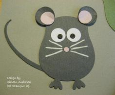 By Kirsten Andresen. Mouse from the Stampin' Up owl punch. Owl Punch Cards, Paper Punch Art, Stampin Up, Owl Card, Craft Punches, Shaped Cards, Animal Cards, Kids Cards, Baby Cards