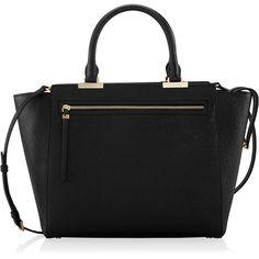 Henri Bendel Gotham Tote ($249) ❤ liked on Polyvore featuring bags, handbags, tote bags, black, zipper purse, handbags totes, tote handbags, zip tote bag and pebbled-leather handbags