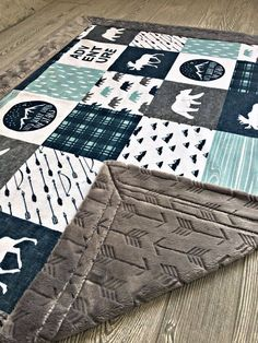 Mountain Minky Baby Blanket Lumberjack Blanket Faux Quilt Mountain Arrow Bear Moose Woodland Adventure Toddler Blanket Twin Blanket by Moonsheets