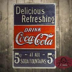 Drink coke Delicious Refreshing , Tin Sign, Vintage, Retro, Home Decor, Bar decor $6.99