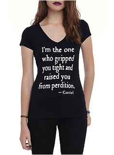 "Fitted black V-neck tee from <i>Supernatural</i> with the Castiel quote ""I'm the one who gripped you tight and raised you from perdition"" on the front and a wings design on the back.<ul><li> 100% cotton</li><li>Wash cold; dry low</li><li>Imported</li><li>Listed in junior sizes </li></ul>"