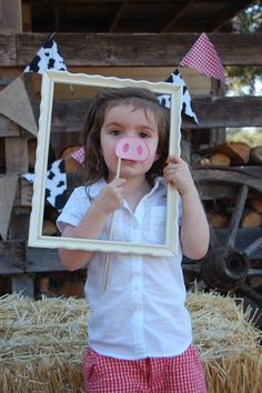 "Pinkie for Pink: Barnyard (farm) Birthday Party - I really like the bunting in the background. I also dig the ""Grab a prop and strike a pose"" idea."