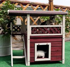 Cat Houses for Outdoor Cats Kittens Pet Home Condo Shelter Weatherproof Supplies. This Cat Houses for Outdoor Cats is the ideal shelter for outdoor cats and it has an escape for whenever they want to get away! | eBay!