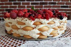 mascarpone_ole_ovocna_torta10 No Bake Cake, Tiramisu, Cake Recipes, Cheesecake, Food And Drink, Pudding, Sweets, Cooking, Desserts