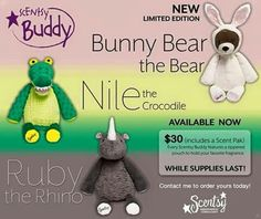 How adorable are these new release buddies? Snatch them up while you can before they are gone!  Www.scentoasis.scentsy.ca