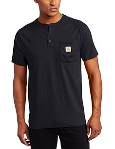 5b6968b8091 Carhartt Men's Force Cotton Short Sleeve Henley Relaxed Fit,Navy,XX-Large  Casual