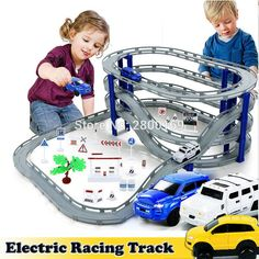 DIY Electric Train Track Car Racing Track ToyMulti-layer Spiral Track Roller Coaster Railway Transportation Building Slot Sets #electrictrainsets
