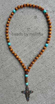 wooden bead rosary prayer beads by BeadsByMelissa on Etsy, $15.00