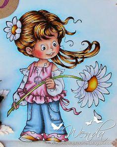 Flower Child.   Hair :  E37 - YR24 - Y26 - Y15 - Y21 - E50 Skin : R22 - R20 - E11 - E00 - E000 Rose : W6 - R85 - R83 - R81 - RV00 - RV000 Blue : C5 - B97 - B95 - B93 - B91 Flower : E37 - YR24 - Y15 - Y21 Background : B01 - B000 - B0000