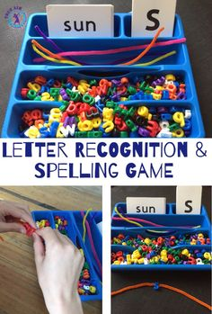 Hands on preschool activity - Letter Beads: Recognition and Spelling Game - great busy bag activity!