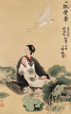 (China) by Zhao Guojing ) & Wang Meifang ). painting on silk. Art Chinois, Fairytale Art, China Art, Korean Art, China Painting, Japanese Painting, Traditional Paintings, Japanese Prints, Japan Art