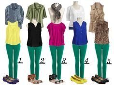 DIY FATSHION: reader request - how to wear green jeans 5 ways - I got some at Target today! Casual Outfits, Cute Outfits, Fashion Outfits, Womens Fashion, Fashion Fashion, Fashion Ideas, Green Jeans Outfit, Outfits With Green Pants, Yellow Pants