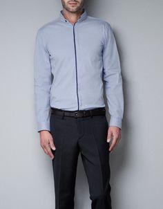 Stretch Shirt with Mao Collar by ZARA
