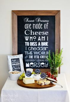 Cheese tasting at a 40th birthday party.  See more party ideas at CatchMyParty.com  #40thbirthday