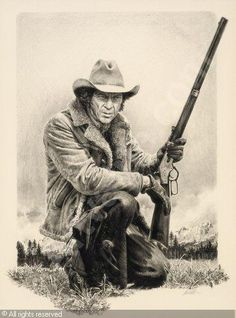 Steve Mcqueen, Western Film, Western Art, Tom Horn, Rifle, Ranger, Cowboy Pictures, Rodeo Cowboys, Western Comics