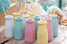 Crazy cute milk jugs with the straws to match, appropriate for almost every occasion!
