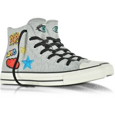 Converse Limited Edition Shoes All Star High Melange Gray Fleece... found on Polyvore featuring shoes, sneakers, lace up sneakers, star sneakers, converse sneakers, fleece-lined shoes and gray sneakers
