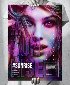 Sunrise Party A2 Poster Template PSD Big Music, Poster Templates, Sunrise, Neon Signs, Party, Fiesta Party, Sunrise Photography, Parties, Sunrises