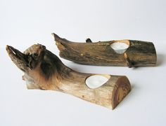 Set of 2 Rustic Candle Holders Wooden Candle by WoodenTextures, $27.00