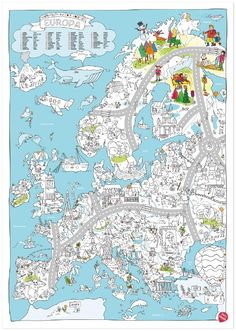 XXL kleurplaat van Europa | Knutselen | Villa Retteketet Round Robin, Mindfulness For Kids, Drawing Exercises, Travel Themes, My Teacher, Drawing For Kids, Primary School, School Projects, Coloring Pages