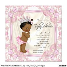 Princess Pearl Ethnic Baby Girl Shower Card