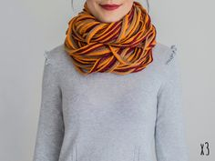 SCARF // Burguny Orange Infinity Eternity Scarf Noodle Scarves Cotton Fashion Neckwarmer Circle Necklace Chunky Cowl