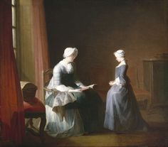 """The Good Education"", Jean-Siméon Chardin - French painter. Oil on canvas, Museum of Fine Arts, Houston. Google Art Project, Johannes Vermeer, Christian Prayers, Ap Art, Museum Of Fine Arts, Art Google, 18th Century, Art History, American History"