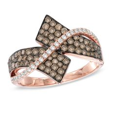 7/8 CT. T.W. Champagne and White Diamond Bypass Ring in 14K Rose Gold
