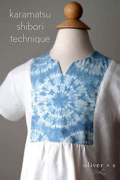The yoke on this Oliver + S Hide-and-Seek Tunic was created by using the karamatsu shibori technique. Learn how to do this…