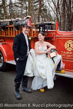 From the food, to the music, to the photos, your wedding day should reflect your unique style! (Firefighter Gear Wedding Portrait - www.mbnphoto.com)