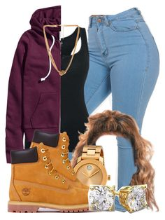 """""""284"""" by tuhlayjuh ❤ liked on Polyvore featuring H&M, Movado, Timberland and Forever 21"""