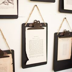 Hanging Black Metal Clip Boards, Set of 6