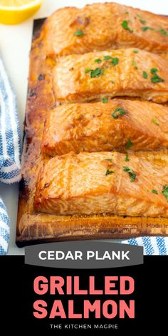 How to cook marinated salmon fillets to smokey, flakey perfection on cedar planks on your grill or BBQ. Perfect grilled salmon! Grilling Recipes, Fish Recipes, Seafood Recipes, Cooking Recipes, Budget Recipes, Drink Recipes, Vegan Recipes, Dinner Recipes, Cedar Plank Salmon