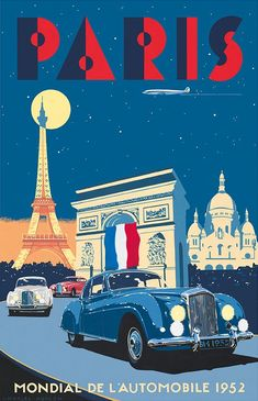 Paris blues - 'Bentley R Type Continental – Paris Mondial de l'Automobile 1952' by Charles Avalon - Vintage car posters - Art Deco - Pullman Editions - Bentley #Vintagetravel