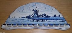 Vintage Delft Blauw Hand Painted Holland Windmill Collector Wall 12 Spoon Holder | eBay