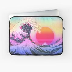 """""""Great Wave Vaporwave Retro Aesthetic"""" Laptop Sleeve by ind3finite   Redbubble 80s Design, Canvas Prints, Art Prints, Retro Aesthetic, Vaporwave, Laptop Sleeves, Finding Yourself, Classic T Shirts, Artists"""