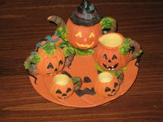 Jack-O-Lantern miniature tea set